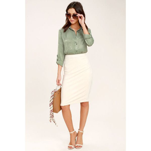 Boss Lady Sage Green Satin Button-Up Top ($49) ❤ liked on Polyvore featuring tops, button up top, satin top, pink long sleeve top, green long sleeve top and button down top