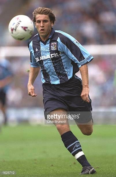Darren Huckerby of Coventry City in action during the FA Carling Premiership match against Bolton Wanderers at Highfield Road in Coventry England The...