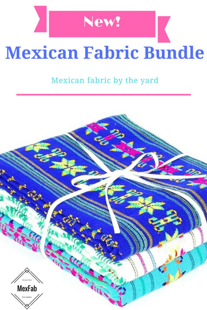 NEW! Mexican Fabric by the yard bundle, Set of Mexican material, Tribal Royal…