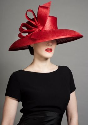 Rachel Trevor Morgan Millineary - Red fine straw bell with self bow twist