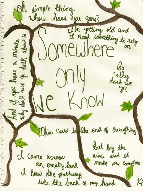 """I love how they put the branches in this lyric art! """"I came across a fallen tree, I felt the branches of them looking at me..."""""""