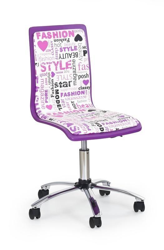 Girls is een moderne kinderbureaustoel gemaakt van kunststof gecombineerd met een kunstlederen zitting, de poot is gemaakt van verchroomd staal en is aan de onderzijde voorzien van kleine kunststof wieltjes.