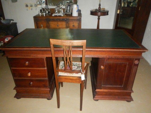 modern Mahogany Leather top Partners desk R5530