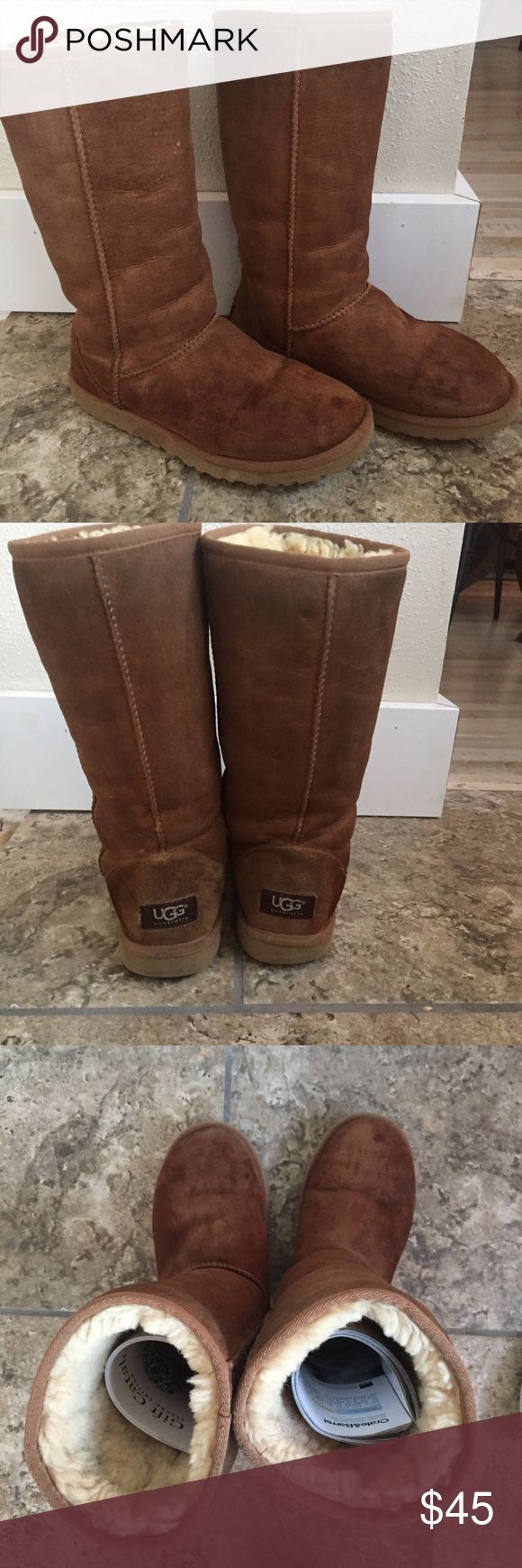 Tall Chestnut Uggs Tall chestnut Ugg boots. Small signs of wear on the bottom heels and very small spots on the top by the toes. In overall really great condition!!! Size 6, but could fit up to 7-7.5! UGG Shoes Winter & Rain Boots