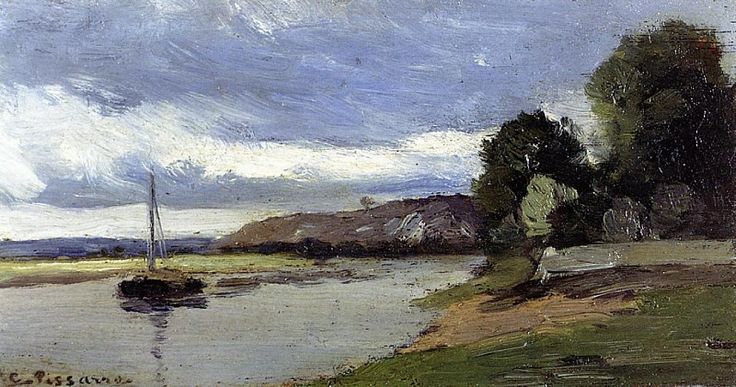 Banks of a River with Barge. (1864). Камиль Писсарро
