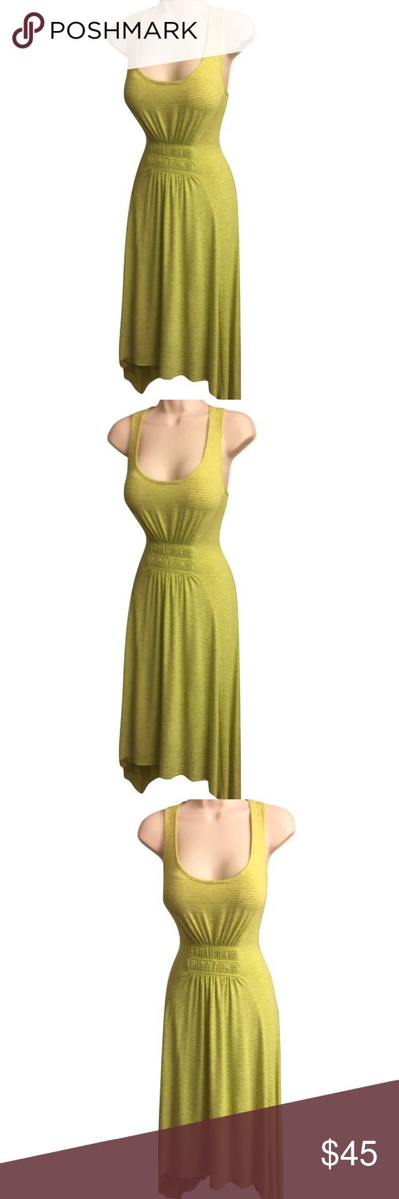 "Asymmetric Green Striped People Like Frank Dress This sleeveless, bright green-yellow & grey striped, asymmetrical People Like Frank dress from Anthropologie is super soft, comfy & light- perfect for summer! Extremely versatile. W/a scoop neckline & racerback, matching elastic panels above waist on front/back of dress define shape of dress, flattering curves. Length: 39"" in front, 47"" at sides. Measurements of dress laid flat: Bust: 16"", Waist: 12"". Dress is designed to stretch. 48%rayon/48%…"