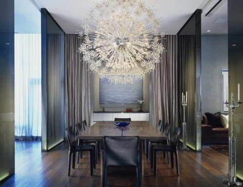 Stunning lighting - interiors - ana borrallo: Crystals Chand, Architects, Modern Dining Rooms, Lights Fixtures, Dining Rooms Lights, Glasses Wall, Dining Rooms Modern, Rooms Ideas, Lights Ideas