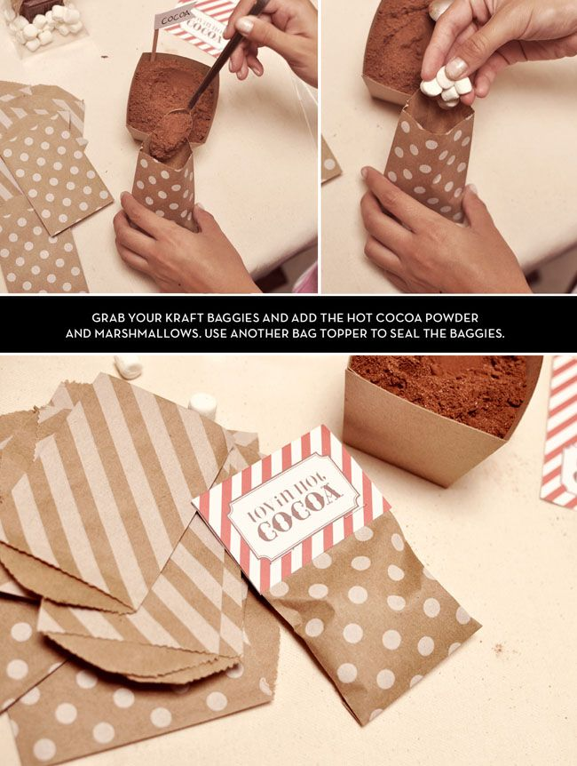 DIY Hot Cocoa Bags (winter wedding party favs!!)