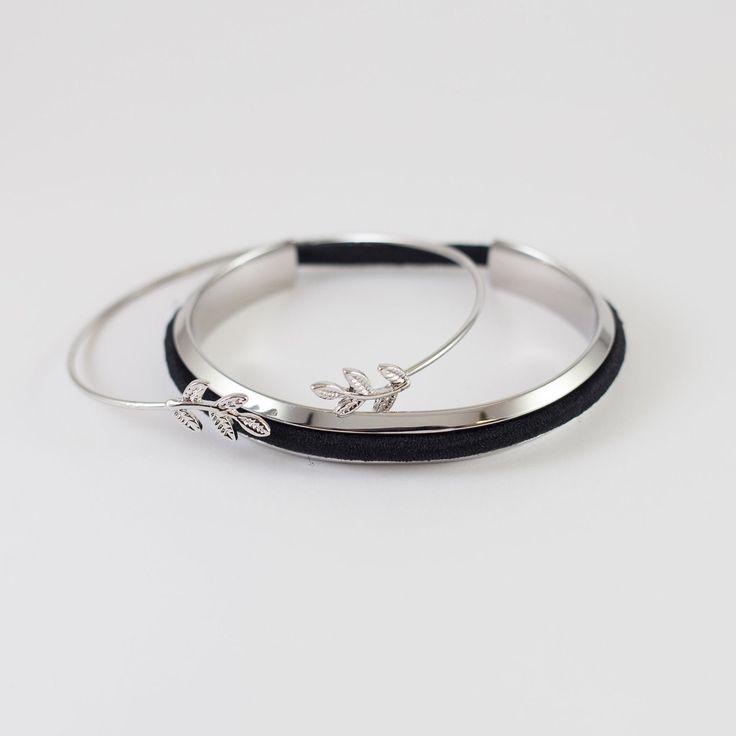 Lydia   Leaflet Stainless Steel Hair Tie Bracelet in Silver