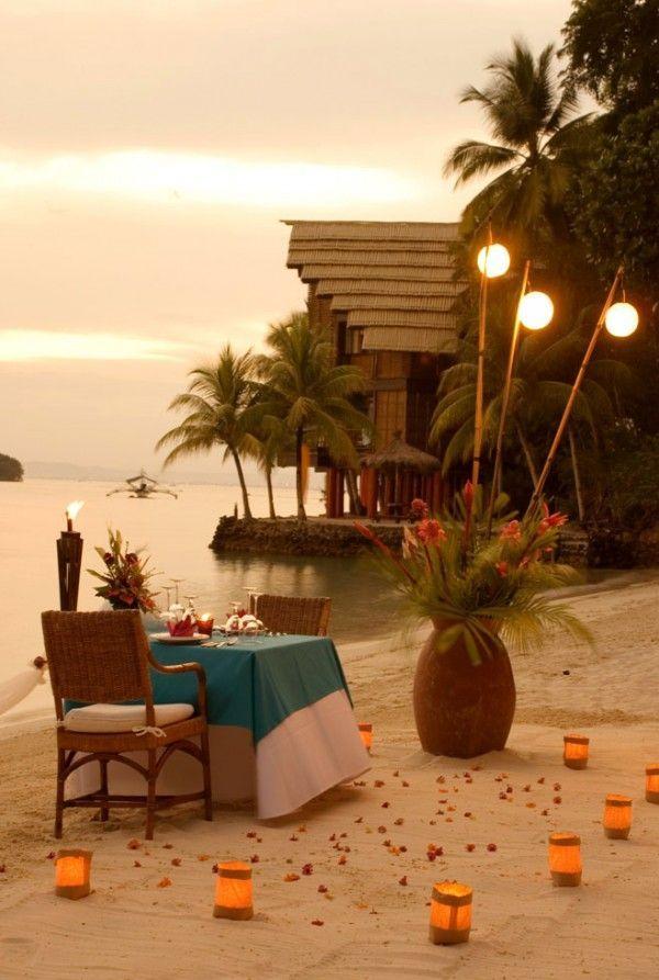 Pearl Farm Beach Resort, Philippines: Sandy Beaches, Tables Sets, Islands Life, Romantic Dinners, Philippine, Romantic Places, Marriage Propo, Romance, Romantic Evening