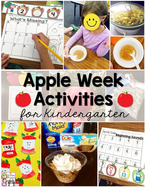 Tons of ideas for apple week in Kindergarten. Activities, read aloud suggestions, recipes and freebies!