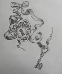 Ribbon, bow, lock, and key tattoo idea