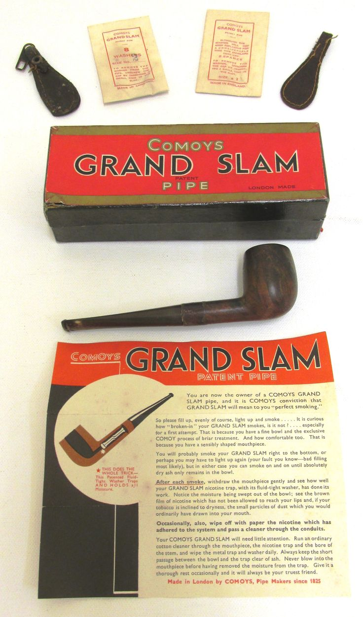 Comoys Grand Slam Tobacco pipe, accessories and leaflet with instructions on perfect smoking. Belonged to Flight Lieutenant Stanley Bruce de Vere. From the collection of the Air Force Museum of New Zealand.