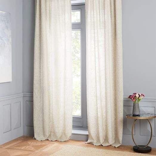 Semi Sheer Belgian Flax Linen Dash Weave Curtain Fabric Adds