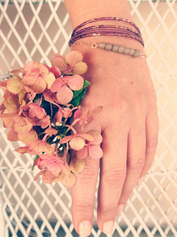 Hortensia-rose gold purple grey bracelet by Planeteer,