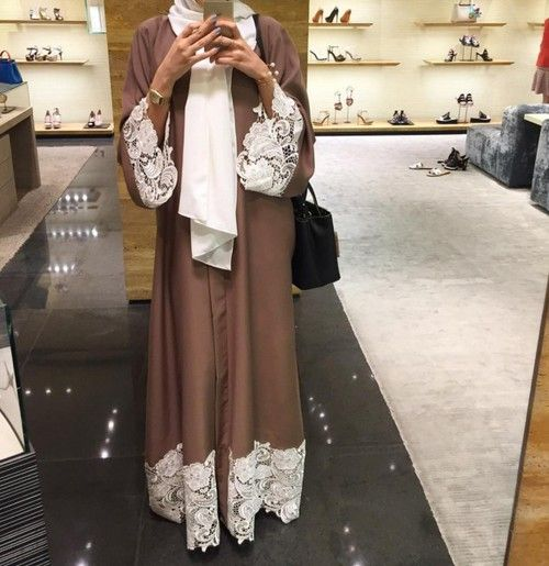 Pinterest: @eighthhorcruxx. Brown abaya with white lace and white hijab