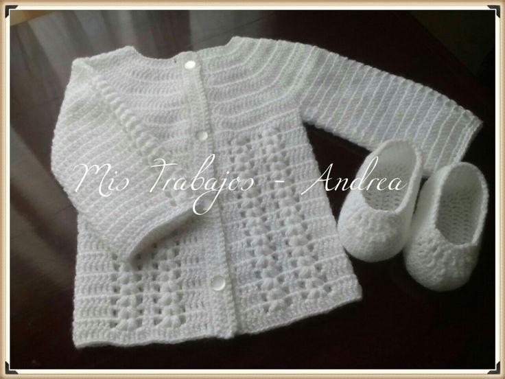 Saquito y zapatito crochet