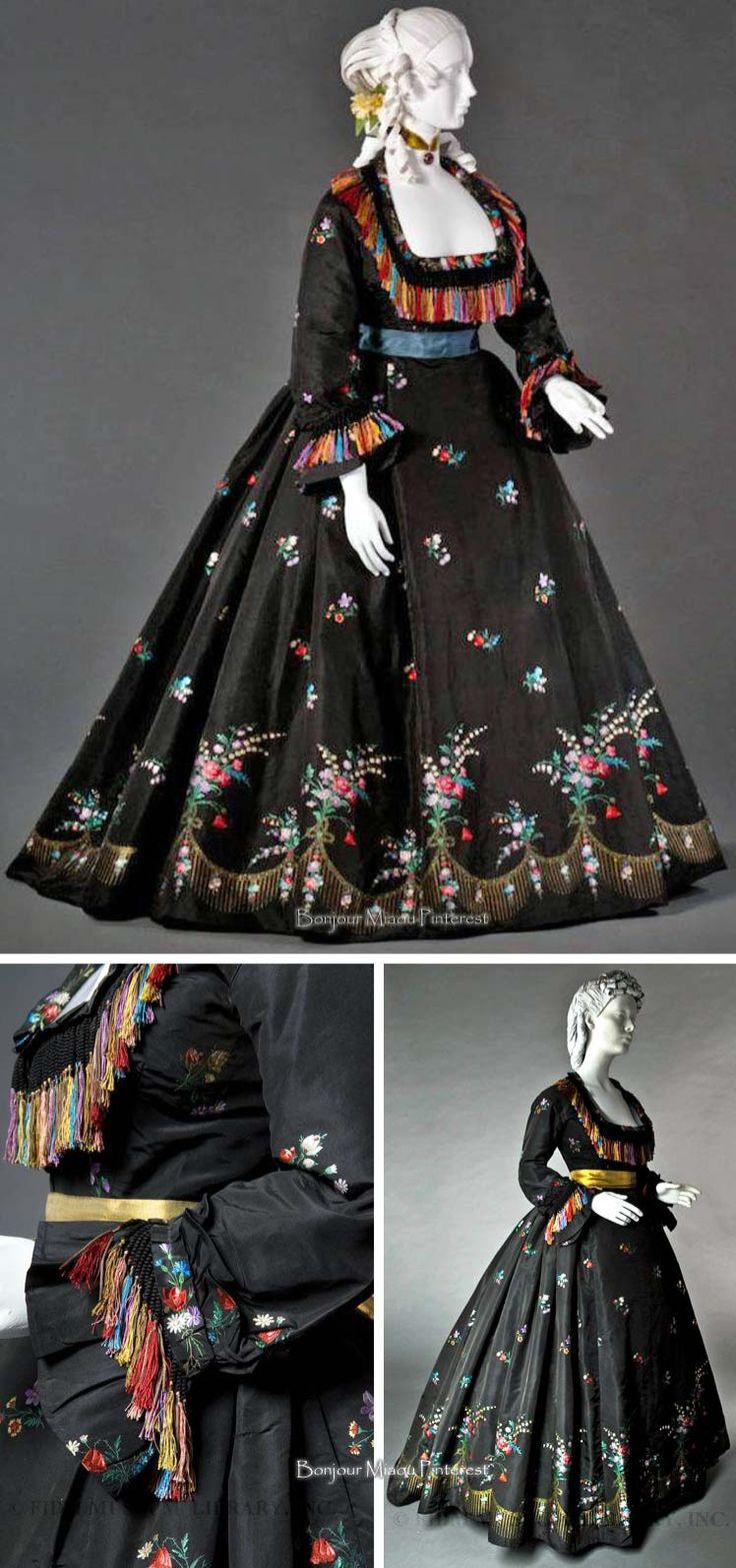 Dinner or reception dress, Madame Olympe, New Orleans, ca. 1866. Brocaded silk taffeta. FIDM blog