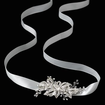 Rhinestone Pave Flower Side Accent Bridal Belt or Headband http://oneclassicwedding.com/For-The-Bride/Bridal-Tiara-Headband/Rhinestone-Bridal-Belt