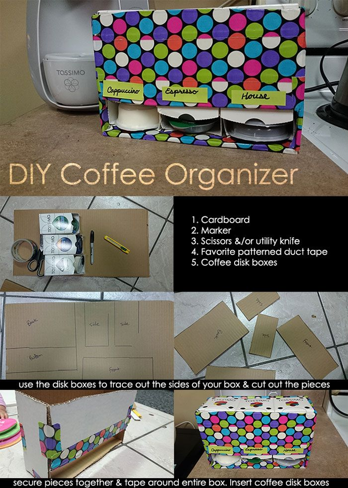 "Probably could make a bit more of a cleaner version, but still one of my top organizing ideas for t-discs -- ""Super easy DIY Coffee Organizer using your favorite patterned duct tape & cardboard"""