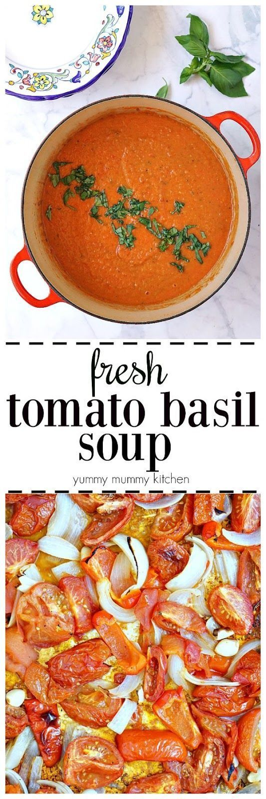 This fresh tomato basil soup is so easy and delicious! Fresh tomatoes are roasted in the oven and blended in a blender with fresh basil. This creamy tomato soup is naturally vegan.