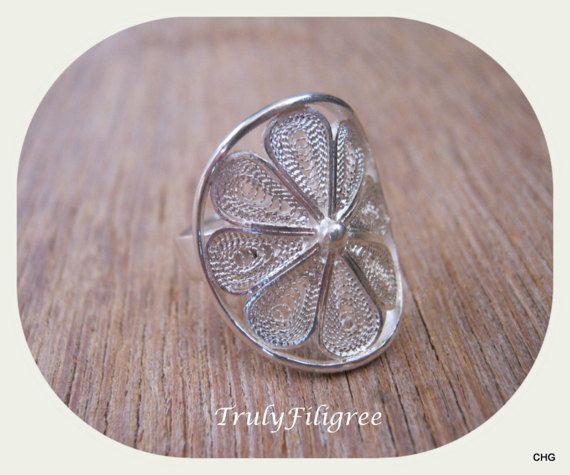 Handmade Sterling Silver Filigree Flower Ring by TrulyFiligree