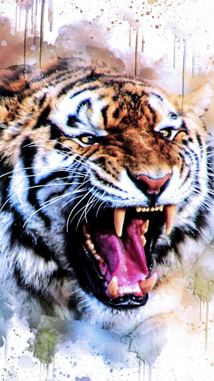 720x1280 Wallpaper Tiger Wild Roar Art Animal Wallpaper Lion Art Lion Wallpaper