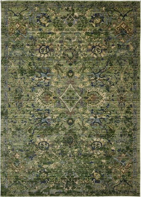 Intricate olive green by Karastan is my new favorite area rug. The minimized border makes it all the more modern, but Karastan's fabulous attention to detail is clearly a connection to tradition.