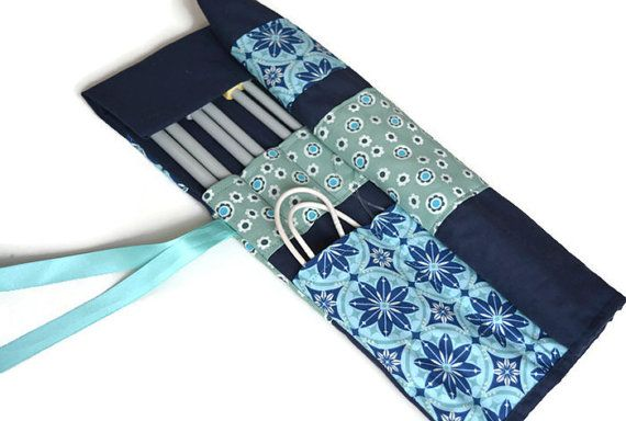 Blue Knitting Needle Case Knitting Needle by VickyMyersCreations
