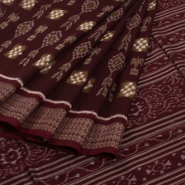 Buy online Handwoven Maroon Phool Sakata Double Ikat Cotton Saree With Floral Motifs & Without Blouse 10012188