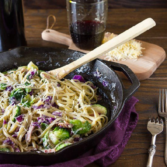 Cheesy brussels sprouts and cabbage pasta! There also might be some ...