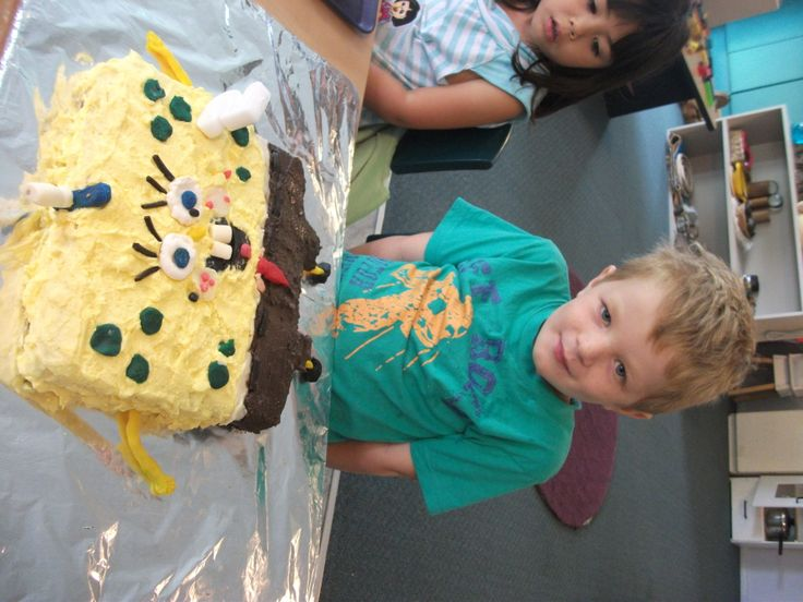 Ethan with Spongebob cake at daycare February 2014