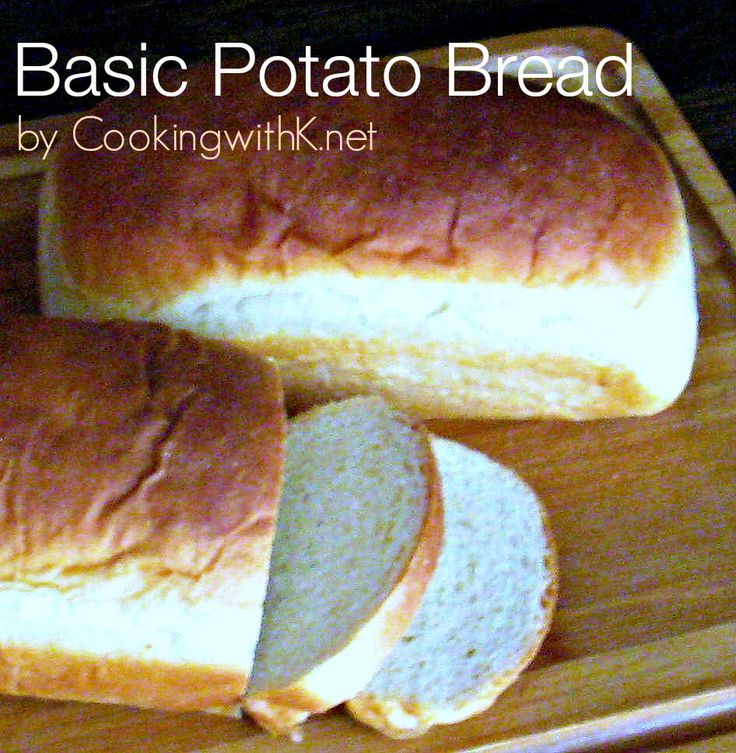 Basic Potato Bread is the perfect homemade bread recipe for beginners.  Super easy to make and yields 4 to 5 loaves depending what size loaf pan used.  Hot out of the oven you cannot resist slathering it with butter!  www.cookingwithk.net