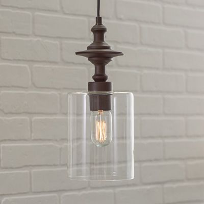 Features:  -Clear glass.  -Bulb type: 100 W Type A.  Fixture Type: -Mini pendant.  Style: -Contemporary.  Shade Material: -Glass.  Shade Color: -Clear.  Finish: -Oil Rubbed Bronze.  Bulb Type: -Incand