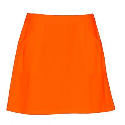 Ladies golf skirt in orange.