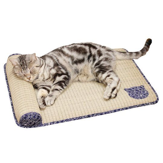 Tatami Cat Bed - The Tatami Cat Bed is the perfect way for your feline friend to relax during the summer. It comes with a cute yet traditional style of karakusa pattern along the border as well as a cat face (spot the little fish) in the bottom right. There is even a little pillow, which your cat will find ideal for ...
