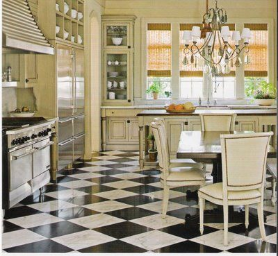 The enchanted home betty lou phillips betty lou for Black and white kitchen floor ideas