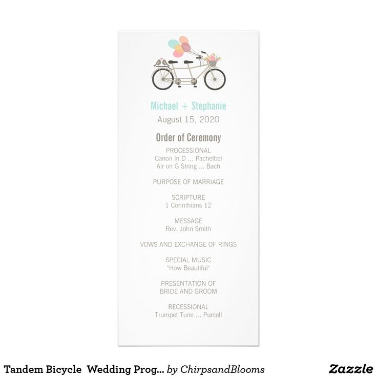 Tandem Bicycle Wedding Program