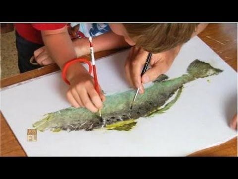 Excellent video showing how to do gyotaku art with kids.  Will do this, using replica rubber fish in class!