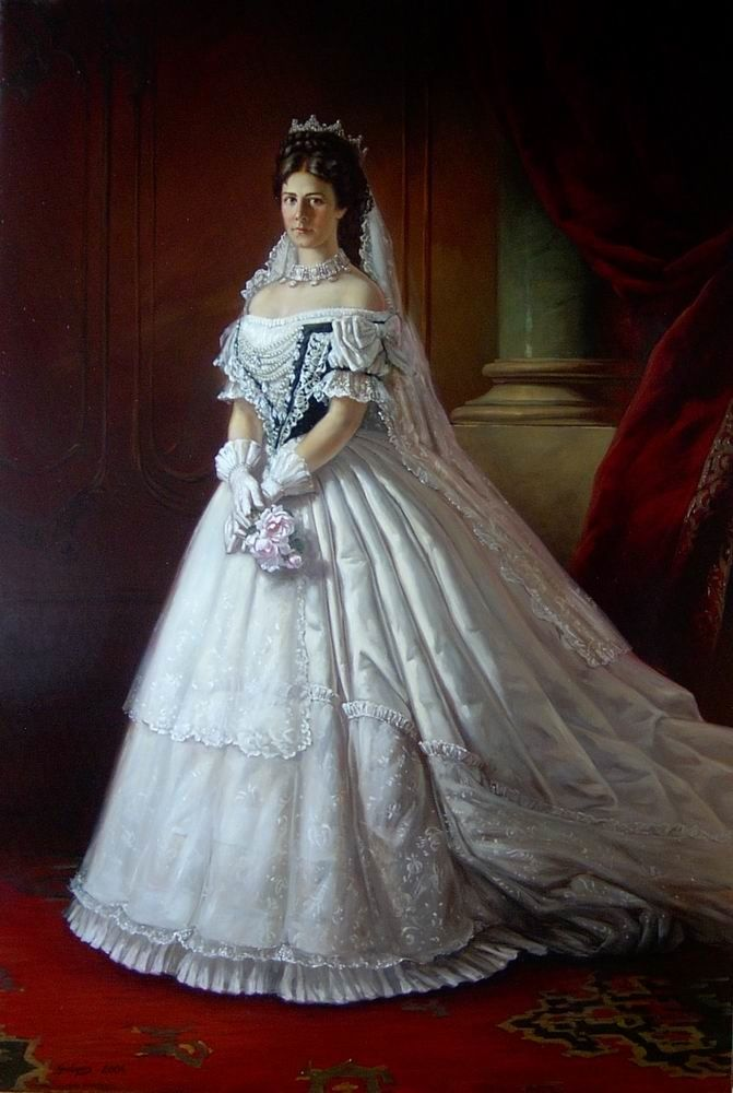 1867 Sisi wearing her Hungarian coronation dress by ? (location unknown to gogm) | Grand Ladies | gogm