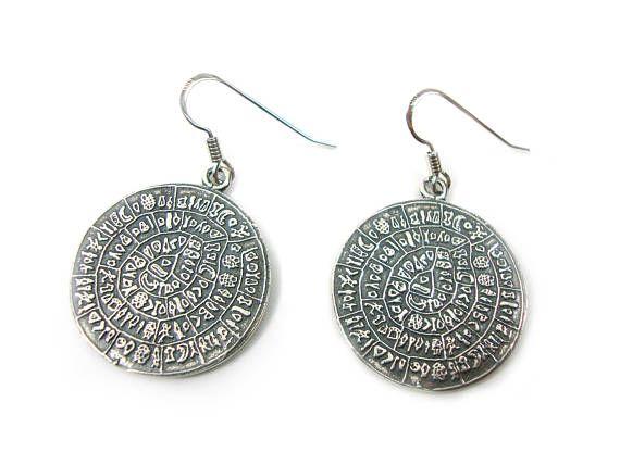 Sterling Silver 925 Ancient Greek Minoan Phaistos Disc Earrings 24 mm, Griechische Silber Ohringe, Greek Earrings, Greek Jewelry, Minoan on Etsy, 40,00€