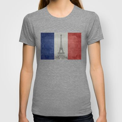 Distressed National Flag of France with Eiffel Tower insert T-shirt