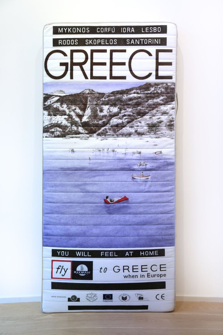 Giuseppe Stampone | Golden Residencies, Greece | 2016 | Ball point pen on mattress 200 x 15 x 90 cm | Courtesy MLF Marie-Laure Fleisch and the artist