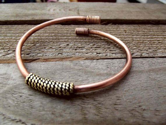 Men brass and copper bracelet, brass copper tribal bangle, boho brass and copper bracelet, indian men bracelet, men cuff bangle