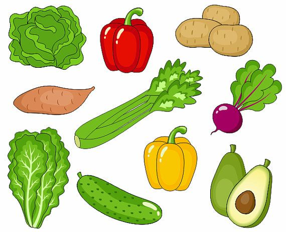 Verduras Clip Art Clipart de verduras lindo Digital Clip Art