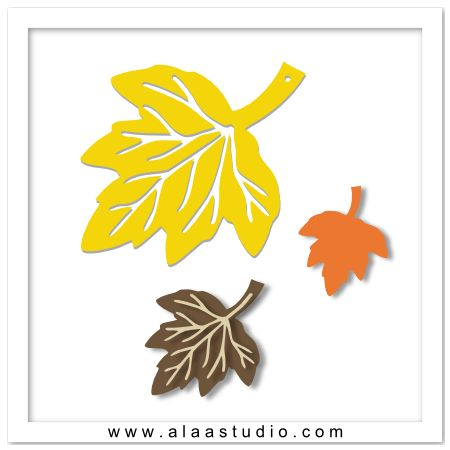 Free Download: Autumn leaves SVG, DXF, PDF cutting files from Alaa Studio.
