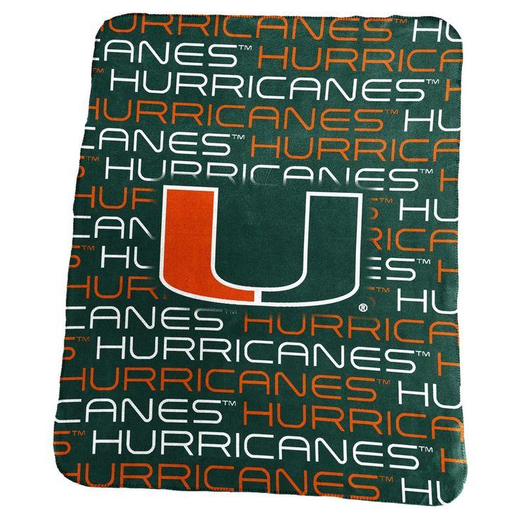 NCAA Miami Hurricanes Logo Brands Classic Fleece Throw Blanket