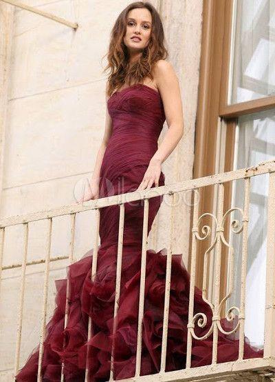 Robe de Gossip Girl sirène bordeaux en organza encolure coeur traîne courte - Milanoo.com