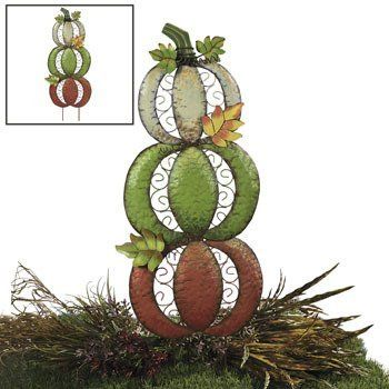 Three Pumpkin Yard Stake - Yard Stakes by Oriental Trading Company. $29.99. Colorfully stacked on top of each other, you'll love adding this glittering Three Pumpkin Yard Stake to your outdoor autumn decorations. Accented with glitter, curly wires and 3D leaves, this fall decorating idea is a must-have if you're looking for a way to enhance your yard with bright colors. Metal. With attached stakes, 35H x 12W. Details: Thanksgiving, Halloween, Metal, Outdoor/Patio, Fall
