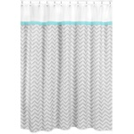 Turquoise and Gray Zig Zag Kids Bathroom Fabric Bath Shower Curtain by Sweet Jojo Designs